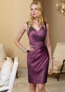 V-Neck Draped Taffeta Short Sexy Charming Homecoming Fashion Dresses (FD3014) pictures & photos