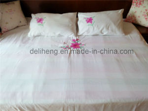 3PCS Bleached White 100% Polyester Flower Embroidered Bedsheet Set