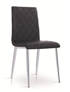 Modern PU High Back Chrome Dining Room Chair pictures & photos