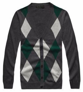 Men′s Cotton Button Down Cardigan Sweater with Lattice Pattern (717) pictures & photos