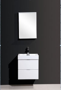 Luxury Double Drawers MFC Painting Bathroom Cabinet (Glossy White)