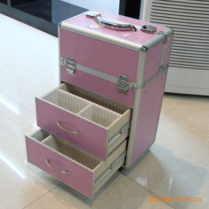 Professional Aluminum Frame Cosmetic Trolley Cases, Pink Beauty Trolley Case pictures & photos