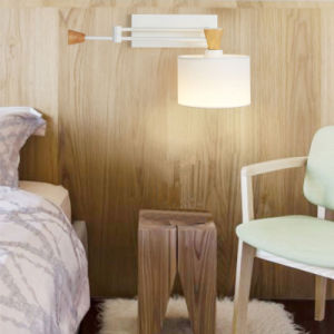 White Adjustable Bedside Swing Arm Wall Lamps Lights with Fabric Shade pictures & photos