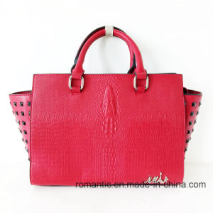 China Supplier Fashion Lady PU Printed Handbags with Rivets (NMDK-15009)