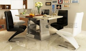 Simple Stainless Steel Base Folding Extendable Marble Dining Table (NK-DTB086) pictures & photos