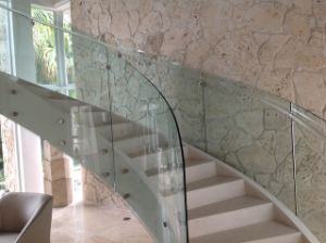 Modern Helical Staircase with Marble Staircase Tread / Curved Glass Staircase with Glass Railing pictures & photos