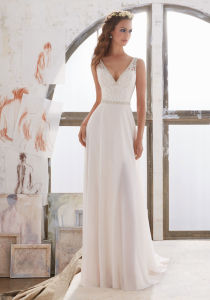 2017 Elegant Georgette Sheath Bridal Wedding Dresses Wd505 pictures & photos
