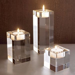 Tall Candlestick Crystal Glass Candle Holder Craft for Decoration pictures & photos
