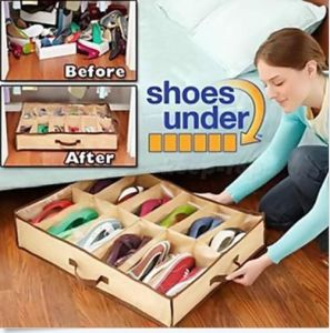 Holder Intake Under Bed Closet Fabric Bag Box 12 Pairs Shoes Storage Organizer pictures & photos