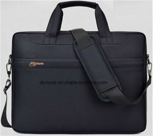 "Black Simple Design Low MOQ Promotional Nylon Laptop Messenger Bag, Multifunctional Laptop Single Shoulder Bag Fit for 15.6"" Laptop pictures & photos"