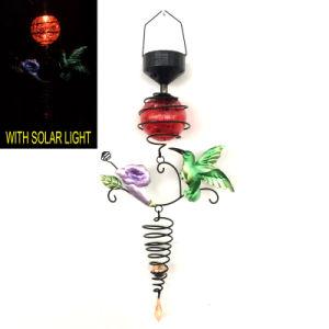 Glass Ball Solar Light Metal Hummingbird Garden Decoration