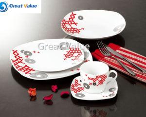 20PCS Black & Red Ceramic Dinner Plate Kid pictures & photos