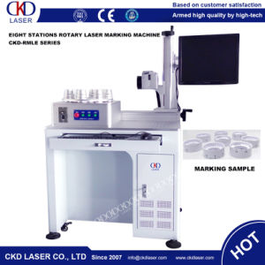 Eight Stations Rotary Fiber Laser Marking Machine for Engraving Parts pictures & photos