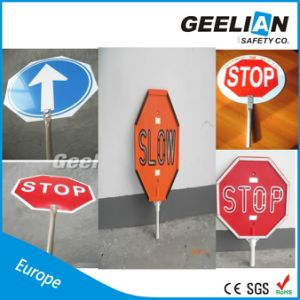 Aluminum/ABS Board Slow Stop Safety Road Traffic Sign Road Emergency Stop Sign pictures & photos