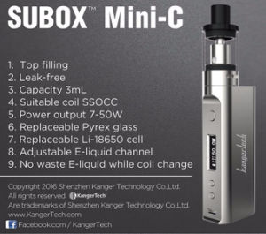 2017 Kanger Upgraded Product Subox Mini-C Vape Kit pictures & photos
