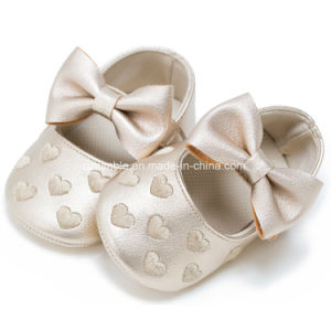 Colorful Baby Soft PU Shoes with Big Lovely Bowknot pictures & photos