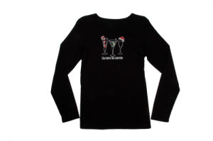 Ladies Black Color Printting Long Sleeved T-Shirt pictures & photos