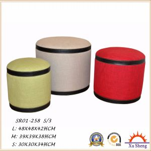 3-PC Stacking Linen Fabric Tufted Ottoman Stool pictures & photos