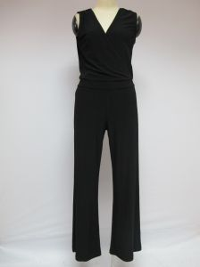 Black V-Neck Sleeveless Sexy Low-Cut Soft Slim Fashion Ladies Jumpsuits pictures & photos