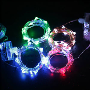 IP44 Dimmable String Lights Flexible Silver Wire AA Battery Operated Warm White pictures & photos