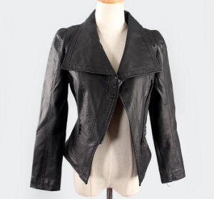 Fashion Cultivate One′s Morality Fake Leather Shorts Jacket Puj0718 pictures & photos