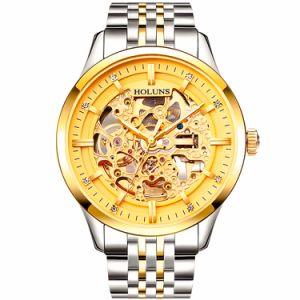 Relojes Hombre Man Watches Steampunk Gold Luxury Brand Top Famous Stainless Steel Strap Skeleton Fashion Waterproof pictures & photos