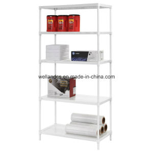 5-Tier Steel Shelving in White with 5 Perforated Steel Shelves for Storage pictures & photos