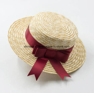 High Quality Canotier Boater Wheat-Straw Hats with Ribbon or Flower (CPA_80056) pictures & photos