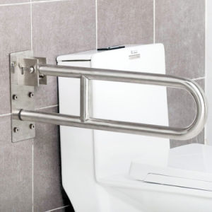 304 Stainless Steel Flip up U-Shape Toilet Grab Bars Sanitary Ware Bathroom Accessories