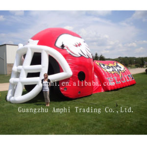 Outdoor Advertising Inflatable Green Football Helmet Tunnel