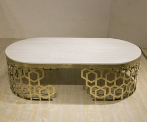 Golden Stainless Steel Wedding Table Coffee Table for Banquet pictures & photos