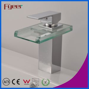 Fyeer Chrome Plated Square Glass Waterfall Spout Single Handle Brass Wash Basin Faucet Sink Water Mixer Tap Wasserhahn pictures & photos