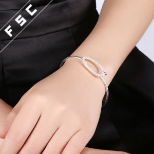 Silver Plated Copper Cubic Zirconia Oval Bangle Bracelet pictures & photos