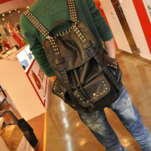 Factory OEM Rivet PU Leather Backpack (3008) pictures & photos