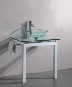 Solid Wood Bracket Glass Wash Basin (7044) pictures & photos