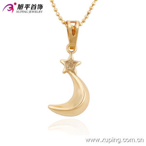 Xuping Fashion Charm 18k Gold-Plated Moon-Shaped Imitation Jewelry Necklace Pendant-32517 pictures & photos