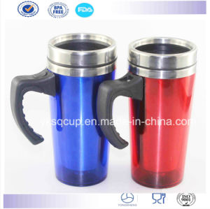 Stainless Steel Car Mug Travel Mug with Plastic Handle and Lid