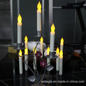 Yellow Flameless Candle Holder Metal Pillar for Decoration
