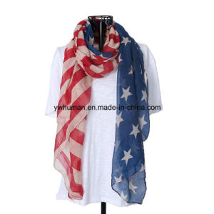 Women White and Blue American Flag Long Scarf pictures & photos