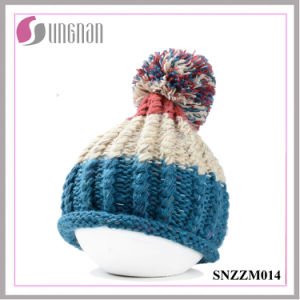 Fall/Winter Korean Thickening Mixed Colors Wool Ball Knitting Hat pictures & photos