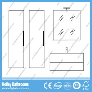 High Ending Modern Bathroom Furniture with Two Side Vanities and Lamp (BF120N) pictures & photos