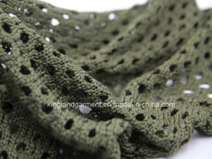Acrylic Fashion Quality Olive Small-Holed Hollow Knitted Neck Scarf pictures & photos