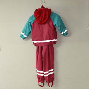 Red and Sky Blue Solid PU Reflective Rain Jacket for Children/Baby Set pictures & photos