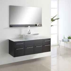 Dark Bronw Wall Hung Single Sink Bathroom Vanity