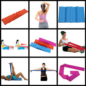 Flat Stretch Bands Exercise Set - Extra Long Extra Wide - Heavy Duty Door Anchor Included pictures & photos