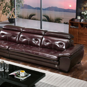 Leather Sofa with Adjustable Headrest (391) pictures & photos