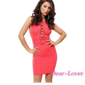 Fashion Lace up Front Halterneck Mini Dress pictures & photos