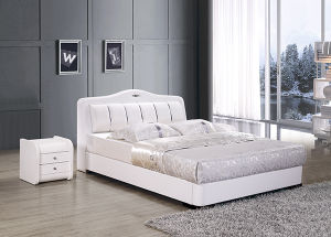 Bedroom Furniture White Leather Soft Bed