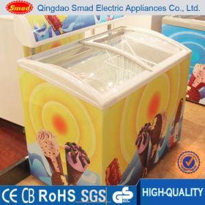 Curved Glass Top Door Ice Cream Display Horizontal Chest Freezer pictures & photos