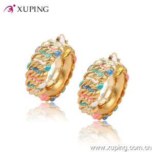New Arrival Fashion Simple 18k Gold-Plated Colorful Imitation Jewelry Hoop Earring - 91325 pictures & photos